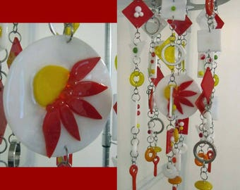 """Red Gerbera Daisy: Glass Mobile / Wind Chime featuring Stained Glass and Fused Glass (approx 7"""" diameter x 14"""" long)"""