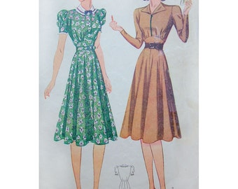 1940s Style Swing Time Dress with Eight Gore Skirt Custom Made in Your Size From a Vintage Pattern