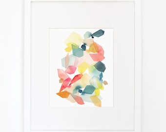 Gems in Coral & Turquoise - Watercolor Art Print