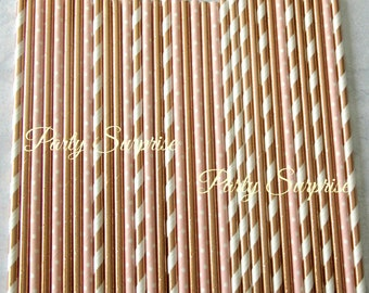 Blush and Rose Gold Straws Foil Straws Striped Rose Gold Metallic Straws Fancy Paper Straws Wedding Birthday Party Shower Straws