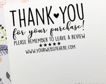 Thank You For Your Purchase Stamp, Review Stamp, Etsy Shop Website Stamp, Feedback Stamp, Personalized Business Stamp, Wooden or Self Inking
