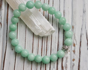 Natural Amazonite Stone Bracelet, Stackable, Stretch Bracelet, Natural Stone, Silver Colored Focal Bead