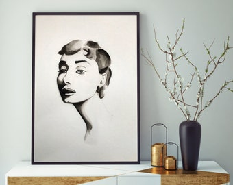 A4, Audrey Hepburn, poster, print, home decore, wall art, watercolour, ink, painting, custom made, illustration, hand painted, gallery wall