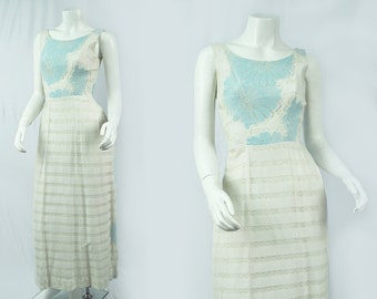 60's White Cotton Gown | Pop of Blue | Vintage Dress | Small
