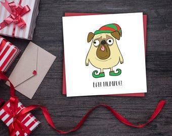 Bah Humbug Christmas Card - Pug Christmas Card - Bah Humbug Christmas Card - Grumpy Pug Christmas Card - Funny Pug Christmas Card - Hum-Pug