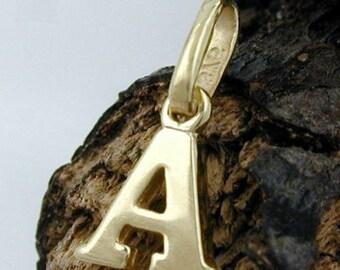 Letter A, pendant, 9Kt GOLD