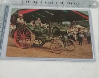 Vintage used  waterloo boy tractor Postcard kinzer PA