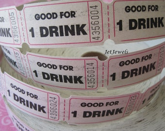 200 Drink Tickets, Good For One Drink Tickets, White Tickets, Wedding Reception Drink Ticket, Alcohol Drink Ticket, Raffle Tickets 2x1