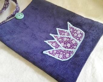 Lotus Flower Vintage Purple Flowers & Corduroy Purse Bag - Small Crossbody Tote - Passport Pouch
