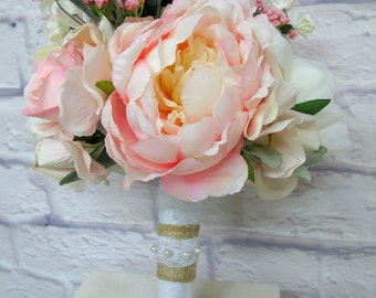 Bridesmaid Bouquet - Blush Pink and Ivory Garden Rose Peony Bridesmaid  Bouquet