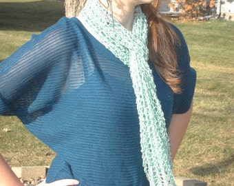 Lacy Green Knitted Scarf