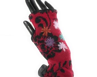 Luxury 100% baby Alpaca Womens Fingerless Gloves, Texting Gloves.  Hand Stitched design.