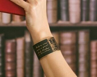 Sherlock Holmes Jewelry - Geeky Gift For Her - Holmes And Watson - Victorian Steampunk Cuff Bracelet - Sherlock Fan Gift - Literary Jewelry