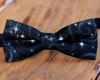 New Year's Eve boys bow tie - black silver star cotton bowtie - infant baby toddler child little boy preteen bow tie - wedding party bow tie