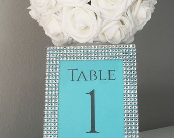 Turquoise, Aqua, Robins Egg Blue Wedding Rhinestone 5x7 Frame with Personalized Table number