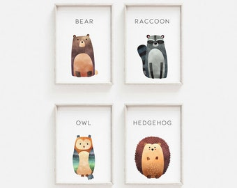 Woodland Animal Prints - A3 A4 A6 - Watercolour animal images - Bear, Raccoon, Owl, Hedgehog