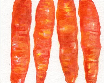 Original carrots watercolor painting 5 x 7 water color painting bunch of carrots, small vegetable artwork, Farmhouse decor watercolor