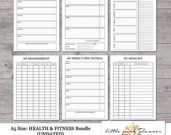 A5 Size Undated HEALTH AND FITNESS Bundle- Inserts for Filofax and Kikki K Style Planners