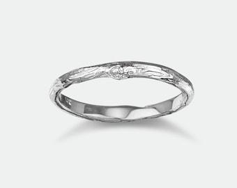 Twig Wedding Band, Woodland Nature Inspired Ring, Real Twig Gold Wedding Band