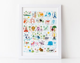 Travel Nursery, Animal Alphabet, Poster, Baby Shower Gift, ABC, Baby Alphabet, Nursery Art, Baby Gift, Alphabet Print, Cute Animals