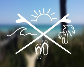 DECAL {Beach Life} Beach Decal | Ocean Decal | Vinyl Decal | Car Window Decal | Laptop Decal |Yeti Decal | Water Bottle Decal | Phone Decal