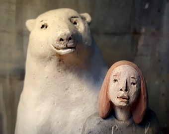 Bear and Girl/ Two Colored Ceramic Sculptures/ Unique