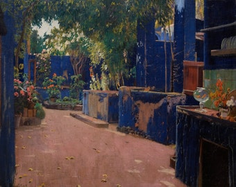 Blue Courtyard, Arenys de Munt by Santiago Rusiñol, in various sizes, Giclee Print on Canvas