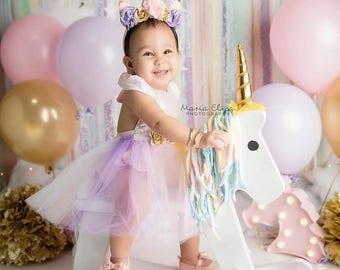 Baby Girl First Birthday Unicorn Dress - 1st Birthday Outfit - Unicorn Party Dress - 1st Birthday Dress- Second Birthday Dress