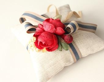 RIng bearer pillow, rustic burlap wedding, woodland style wedding
