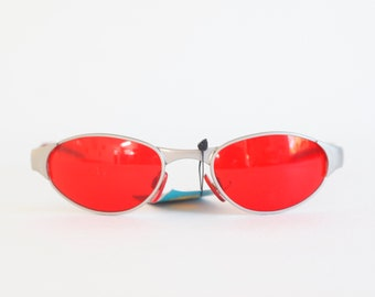 Y2K RED oval sunglasses 00S, perfect for spring and summer / festival / oval / sunglasses / rave / raver / club-kid / club kid / techno
