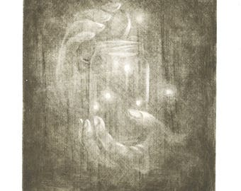 """Summer night"" print / fireflies/printmaking/ething/engraving/etching original engraving/etching/engraving/Landscape/print art/art/fireflies"