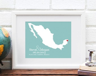 Mexico Map, Personalized Country Map, Destination Wedding Gift, Mexico Anniversary Paper Gift, Personalized Country Map  Print- Art Print