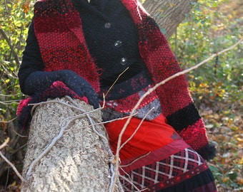 "Luxury Hand-Knit Doctor Who Scarf ""Two Doctors"" Scarf in Black and Red, Long, Striped, Multi-Textured, Fuzzy, Soft, Warm! OOAK"