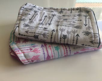 Baby Bibs & Burp Cloths- Grey and Pink Arrows