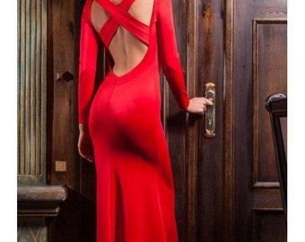 Red maxi dress Elegant long dress Woman to floor dress Open back Cocktail Dress Evening woman Dress Party Dress