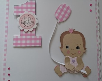 first birthday handmade card baby girl