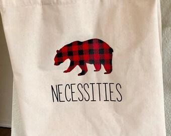 Bear Necessities Tote, Tote Bag, Buffalo Plaid Tote, Buffalo Plaid Acessory, Canvas Tote Bag, Bear Bag