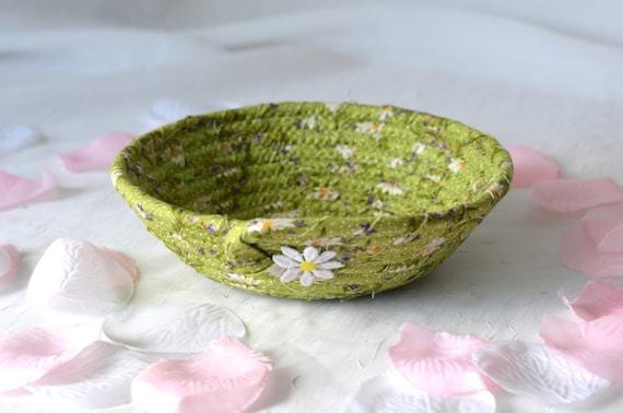 Spring Green Bowl, Key Holder, Hair Tie Bowl, Ring Dish Bowl, Pretty Handmade Artisan Quilted Bowl, Basket Home Decor