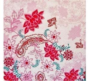Set of 3 HOD060 patterned floral paper napkins