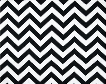 1 Yard Black and White Chevron Fabric 1 yard - Premier Prints Black and White Zig Zag Chevron Fabric
