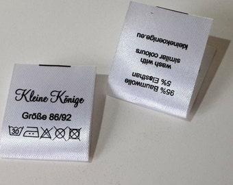 Qty 100 - Custom fold over satin label - Fold over satin tag - Custom logo labels - Custom brand label