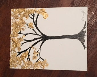 gold and black textured tree painting