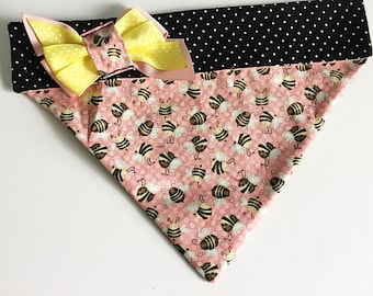 Pink Bumble Bee Dog or Cat Bandana for Spring and Summer
