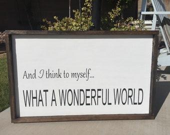 Wonderful World Wood Sign