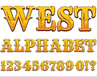 Western Alphabet Clipart Wild West Letters Clipart Scrapbooking Typography Cowboy Alphabet Clip Art Gold Numbers Digital Text Clipart Yellow