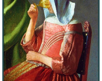 GREAT SALE Maiden With Glass of Wine Detail inspired by Dutch Artist Johannes Vermeer Counted Cross Stitch Chart