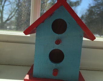 Small Blue and Red Bird House