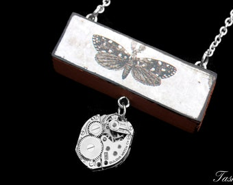 Steampunk Wooden Butterfly Pendant Necklace, Vintage Long Silver Watch Movement Pendant, Boho Jewelry