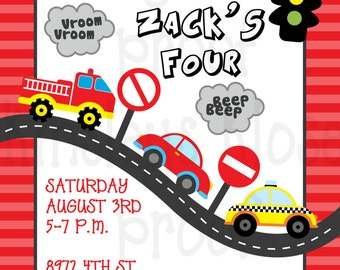 Transportation Birthday Party Invitation - Cars, Trains, Planes Printables PLANES TRAINS and AUTOMOBILE Party Car Truck Plane Train