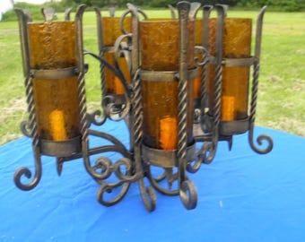 very cool ornate antique MISSION arts and crafts gothic SPANISH REVIVAL cast iron ceiling 6 light crackle glass shades hanging light fixture